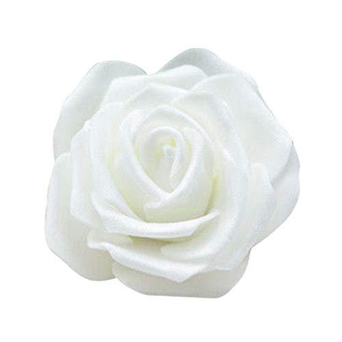 50Rosenblüten, aus Schaumstoff, Blütenkopf, künstliche Blume, Dekoration, zum Basteln, für Garten und Haus weiß