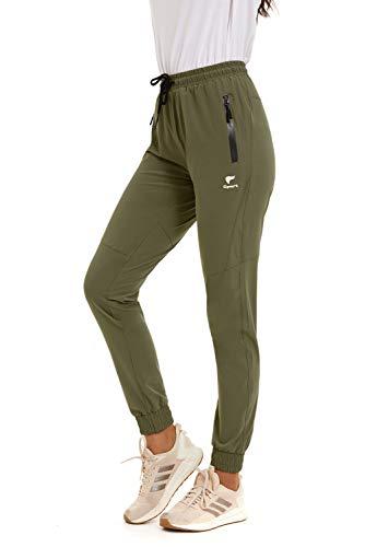 GOLDPKF - Pantalones de senderismo para mujer (secado rápido, cintura alta, para verano), Otoño-Invierno, Anchos, Mujer, color verde militar, tamaño XXL