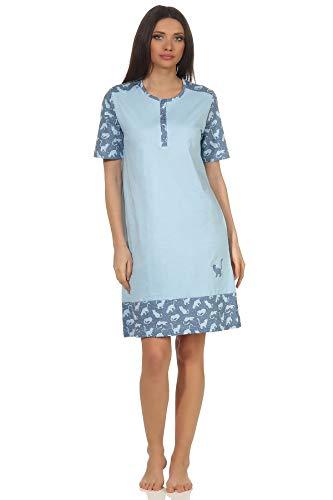 NORMANN-Wäschefabrik Niedliches Damen Kurzarm Nachthemd mit süssen Katzen als Design und Knopfleiste am Hals, Farbe:hellblau, Größe2:36/38