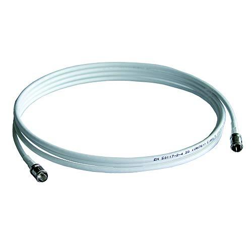 WISI Daten-Anschlusskabel DS 35 0050 mit F-Quick/F-Quick-Stecker – 3-fach geschirmtes Patchkabel, Klasse A, >85dB – Für DVB-T, DVB-T2, DVB-C, DVB-S & DVB-S2 – Ø 5mm, 0,5m, weiß