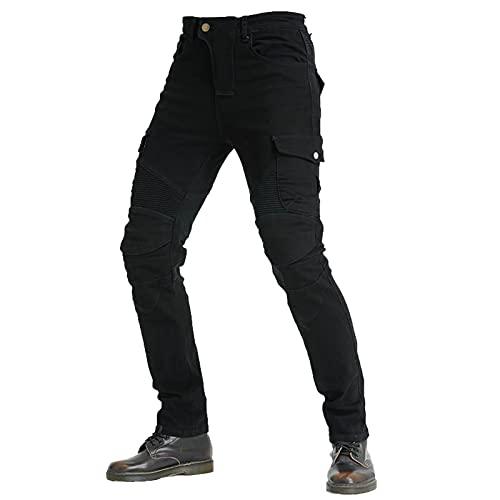 KAISUN Hombre Motocicleta Pantalones Moto Jeans con 4 Almohadillas Protectoras Desmontables, Pantalones de Carreras de Motocross Transpirables (Negro,L)