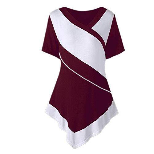 SALEBLOUSE Damen Kurzarm T Shirts Blusen Patchwork Color Block Tunika Tops Damen V-Ausschnitt Bluse Tunika Kurzarmshirt Kurzarm Hemd Tops T-Shirt Oberteile