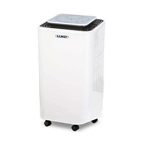 LUKO 12L deumidificatore con controllo dell'umidità e timer, portatile, silenzioso e elettrico, 2L serbatoio con tubo di drenare, asciutti e purificare l'aria per casa, camera da letto, bagno, cantina