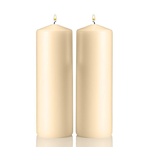 Light In The Dark Ivory Pillar Candles - Set of 2 Unscented Candles - 9 inch Tall, 3 inch Thick - 90 - http://coolthings.us