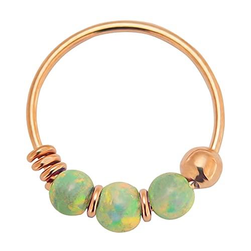 AZARIO LONDON Triple Light Green Opal Stone 22 Gauge (0.6MM) - 8mm Diameter Rose Gold Plated 925 Sterling Silver Open Hoop Nose Ring Jewellery