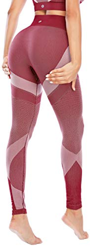 "RUNNING GIRL Women's 3.5"" High Waisted Yoga Pants, Workout Leggings Tummy Control Compression Tights(CK2579 Crimson Red,M)"