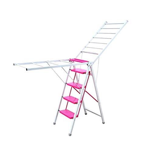 XHHWZB Multifunción Escalera Tendedero de Doble Uso Tipo Espesado Balcón Suelo de Plegado de ala de Secado Interior y Exterior del Estante (Color : Red)