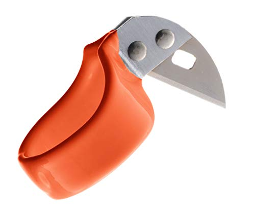 Razor's Edge Safety Knife - Utility Ring Knife for Finger with Sharp, Straight Blade - Ring Size 14 - Orange - Pointed Tip - Dozen - by Handy Twine Knife