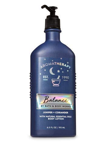 Bath and Body Works Aromatherapy Juniper Coriander Lotion 6.5 Ounce Full Size Gray Pump Glass Bottle