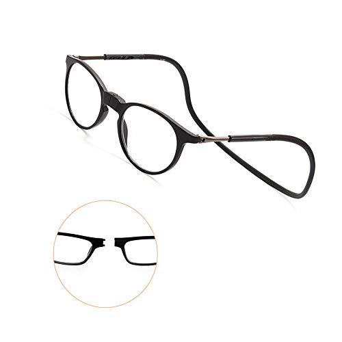 Y&J TR90 Leesbril, telescopische poten, magnetische hals, hangend + 2.00 titanium, van kunststof, ideaal voor leesbril met comfort-licht voor heren