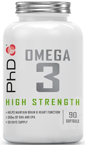 PhD Nutrition Omega 3 Supplement, 90 Softgels Capsules