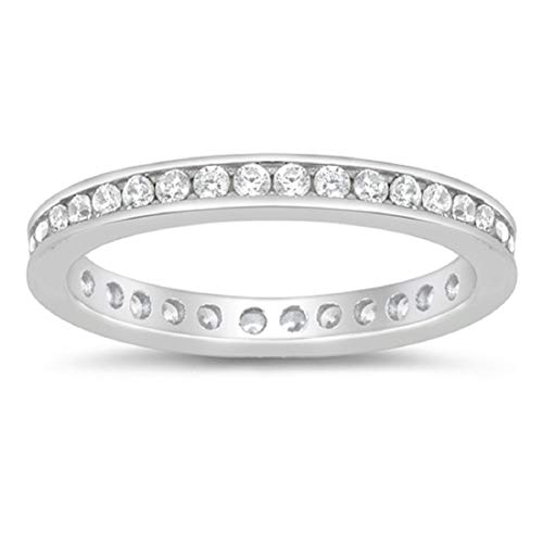 Blue Apple Co. 2.5mm Eternity Style Band Ring Channel Setting Round Cubic Zirconia 925 Sterling Silver Size-7