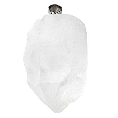 Jovivi - Collar con colgante de cuarzo natural de formato irregular; colgante de cuarzo rosa, amarillo, transparente o amatista; cristal curativo, bisutería, piedra del mes de nacimiento