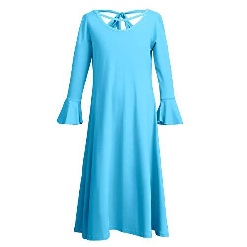 OBEEII Niñas Vestido de Baile Litúrgico Manga Larga Elegantes Ropa Leotardo Gimnasia Ballet Danza Alabanza Vestidos de Fiesta Gimnasia para Chicas Azul 9-10 Años