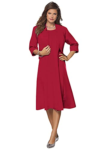 Roamans Women's Plus Size Fit-and-Flare Jacket Dress Suit - 18 W, Classic Red
