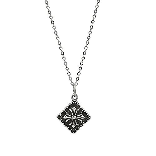 Miffen Collar De Cruz Cuadrada Vintage De Plata De Ley 925 Colgante De Cadena De ClavíCula Colgante para Novia Y Novio CumpleañOs De Esposa DíA De San ValentíN
