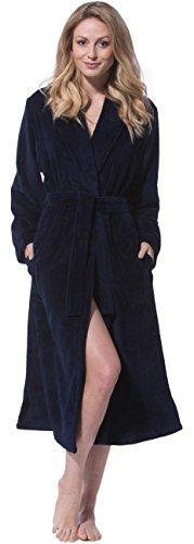 Morgenstern, Damen Bademantel mit Schalkragen, 120 cm lang, Größe L, Farbe Nachtblau (dunkel blau), Softvelour