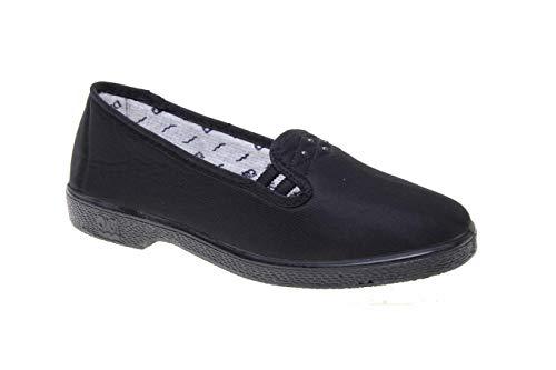 Zapatilla Especial pies delicados señora Mayor, Tejido Acolchado climanil (Negro, Numeric_38)