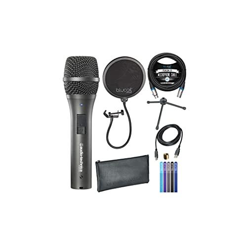 Audio Technica AT2005USB microfono cardioide dinamico con uscite USB/XLR, include un filtro Blucoil Audio da 15,2 cm e un cavo XLR bilanciato da 10' e 5 fascette per cavi Blucoil