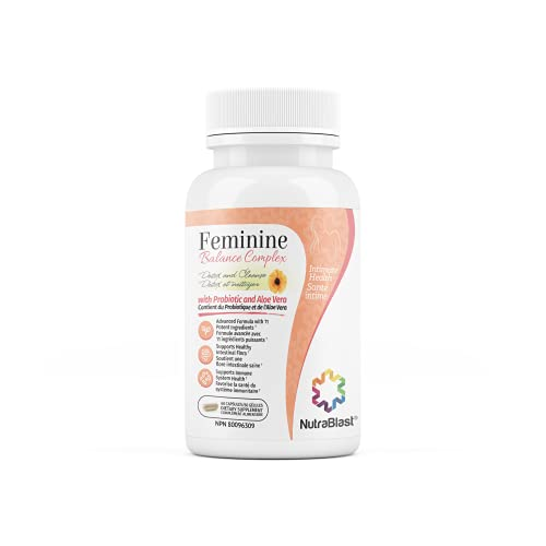 NutraBlast Feminine Balance Complex (60 Capsules) | Vaginal Detox & Cleanse Probiotics | Supports Healthy Intestinal Flora & Immune Function | Advanced Formula with 11 All Natural Ingredients