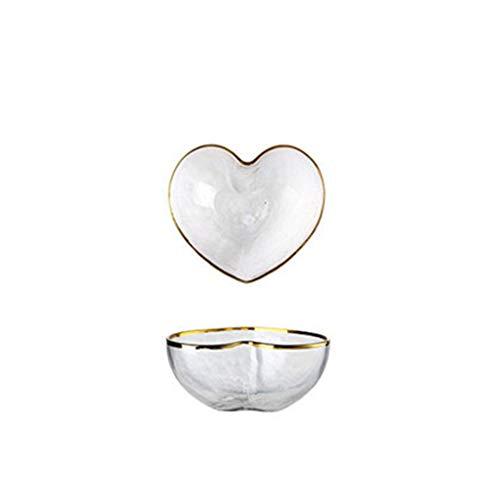 Marginf Herzförmige Glasschüssel Becher Goldener Rand Transparent Kristallschale Frühstück Obst Salat Schüssel Haushalt Geschirr Kleine Herzschale