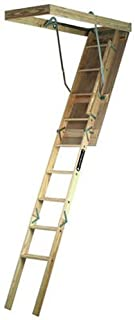 Louisville Ladder 22.5 by 54-Inch Wooden Attic Ladder, 7 Foot To 8-Foot 9-Inch Ceiling Height, 250-Pound Capacity, S224P
