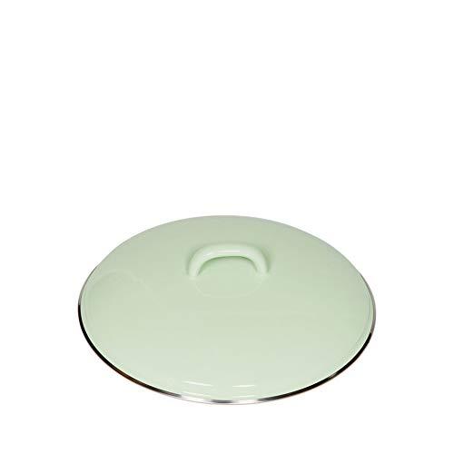 Riess, 0100-006, Deckel mit Chromrand 22, CLASSIC - BUNT/PASTELL, Farbe Nilgrün, Durchmesser 22 cm, Höhe 6,0 cm, Emaille, optional zu Töpfen und Kasserollen