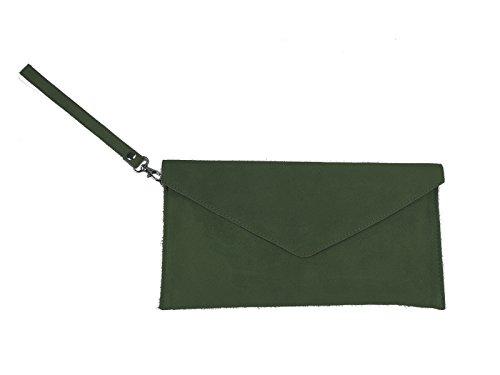 scarlet bag | Umhängetasche aus Wildleder Leder | Damen Handtasche Tasche Henkeltasche; 31,5 x 16,5 x 1,0 cm (dunkelgrün)