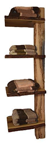 Wood & Wishes – Rustikales Eiche Massivholz Wandregal, Badregal, Hängeregal; 4 Ablagen mit Baumkante für Handtücher Badutensilien; Handarbeit; dekoratives Unikat; Wandmontage; HBT ca. 130x31x39 cm