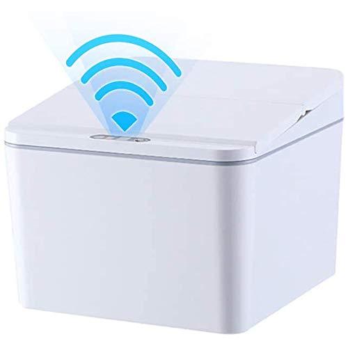 Creely Cubo de Basura AutomáTico de 1 Galones para Coche, Escritorio, Cocina, PequeeO Bote de Basura con Tapa Sin Prensa, Sensor de Respuesta RáPida