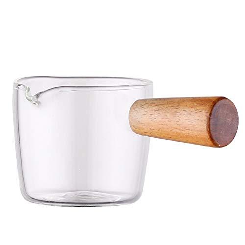 Jarra de leche y azucarero Jarra de leche de vidrio con crema de manija Espresso Sugar Cuenco Mini jarabe jarabe Jarra de jarra Jarra de leche, adecuado para té de café o jarabe de arce Salsera y pues