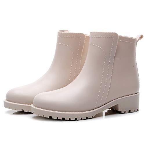 ZODOF Botas de Agua Mujer Estilo Punk Tubo Corto Botas de Nieve Antideslizante Botas de Lluvia Al Aire Libre Caucho Zapatos de Agua Bota Seguridad Mujer(Beige,37 EU)