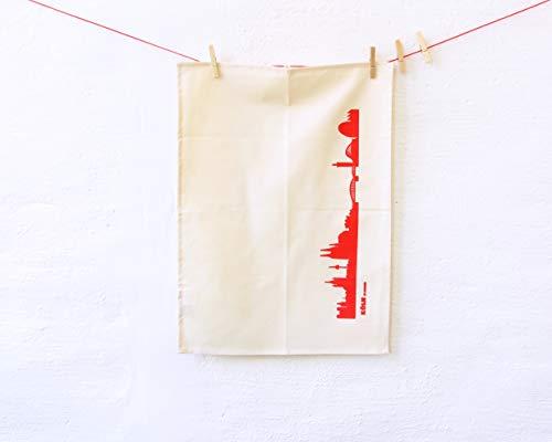 44spaces Köln Skyline Küchentücher Stadt Design rot, 50x70 cm Reine Baumwolle (Bio), Geschirrtücher für Kölner & Cologne Fans, Geschenkidee Geburtstag Grill-Saison Garten-Fest Mitbringsel