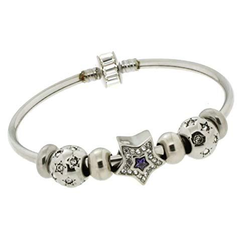 Jewels ZOPPINI Bracciale Rigido Donna Acciaio 7 Charms Tipo Pandora Stella Centrale con ZIRCONI