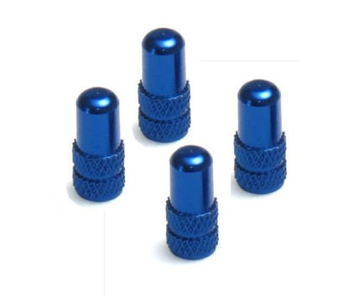 Lot de 4 Bouchons de valve Presta haute pression pour vélo aluminium CNC, bleu