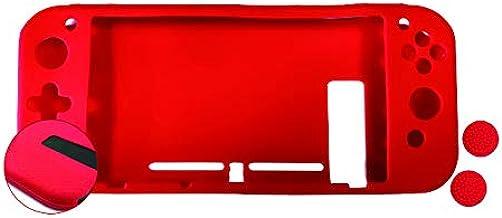 Android - Nuwa Silicona Antideslizante Roja + 2 Grips + Film Protector para Nintendo Switch