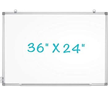 maxtek Magnetic Dry Erase Whiteboard 36 x 24 inches Hanging Whiteboard for Wall Lightweight Dry Erase White Board for Wall with Pen Tray for Home Office School and Children Silver Aluminum Frame