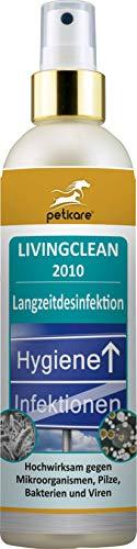 Peticare Desinfektionsmittel DIN EN ISO geprüft, großflächige Desinfektion, Anti-mikrobieller Effekt bis zu 7 Tage gegen Pilz Milben Viren Bakterien - Flächen-Desinfektionsspray - LivingClean 2010