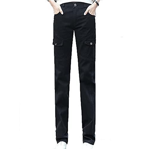 FUNPLUS Pantaloni Cargo Pantaloni Sottili da Esterno da Donna Tuta indossabile con Bottoni Multi-Tasca Decorazione Piccoli Fondi Dritti