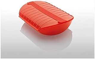 Lékué Estuche de Vapor para el microondas, Color Rojo con una Capacidad de 1400 ml (3-4 Personas)