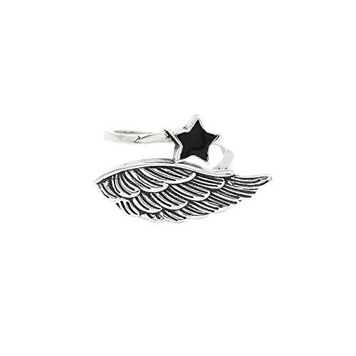 925 Anillo De Plata Mujer Ajustable,Pentagram Star Silver Wing Vintage Anillo Sagrado Símbolo De Anillo Talisman Amuleto Protector Glamour Bloom Diferenciar