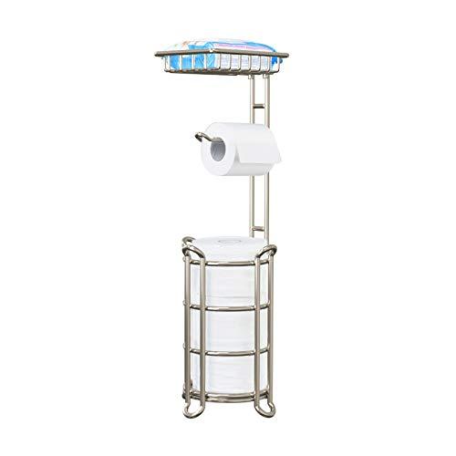 Toilet Paper Holder Stand Tissue Paper Roll Dispenser with Shelf for Bathroom Storage Holds Reserve Mega Rolls-Polished Chrome