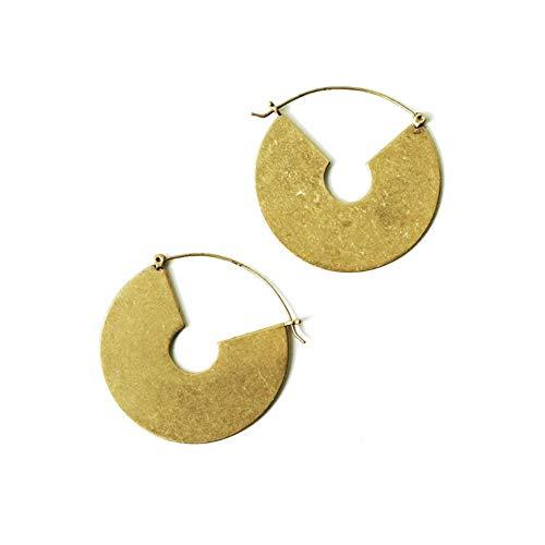 18K Gold Plated Tribal Bohemian Round Disc Earrings for Women Coin Dangling Drop Boho Jewelry L Gold