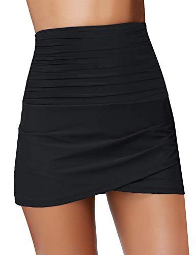 Roskiky  Damen Geraffelte Hoch Taille Schwimm Skirts mit Tulpen Saum Bikini Bottom, L, H-schwarz
