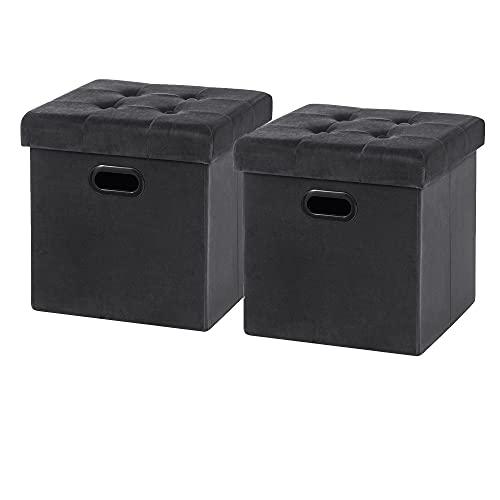 WOLTU Sitzhocker Sitzwürfel Fußhocker mit Stauraum Aufbewahrungsbox Truhen faltbar, Deckel abnehmbar, mit Griffe, Gepolsterte Sitzfläche aus Samt, 37,5x37,5x38CM, Grau, SH72gr-2
