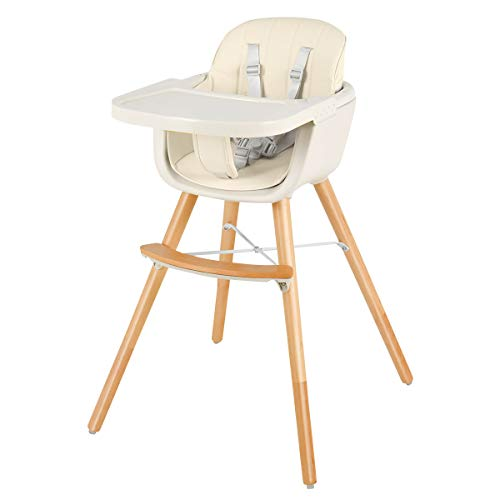 COSTWAY Babyhochstuhl Holz, Kinderhochstuhl Treppenhochstuhl, Kombihochstuhl Baby, Holzhochstuhl Kinder mit einstellbares Esstischchen (Beige)
