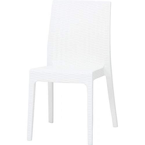 ガーデンチェアー ラタン調 2脚 セット 屋外 庭 イタリア カフェ テラス 椅子 ホワイト