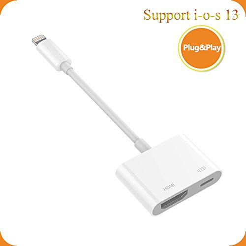 SOOTEWAY iPhone to HDMI Adapter 1080P HDTV Connector Digital AV Adapter Latest Plug and Play Converter Compatible with iPhone 11pro max Xs XS MAX XR X 8 Plus 8 7 Plus 7 6 5-White