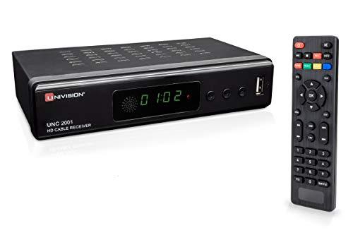 Full HD digitaler Kabel Receiver DVB-C / C2 für alle Kabel-Anbieter mit HDMI | SCART | USB | Auto- Installation | Mediaplayer | 1080p | MKV |LED-Display | Loop Out