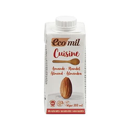 ECOMIL Cousine Almond Nature, Crema de Almendras Para Cocinar (192314), 12 x 200 Ml